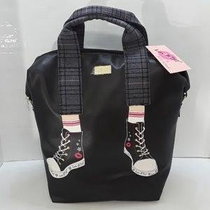 Betsey Johnson Black Top Handle Tote Backpack
